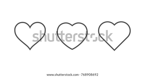 heart icons, concept of love, linear icons thin grey line
