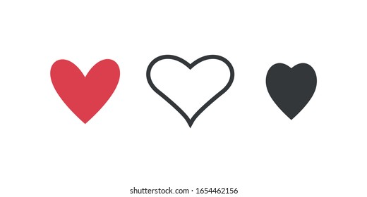 Heart icons, concept of love. Vector illustration.