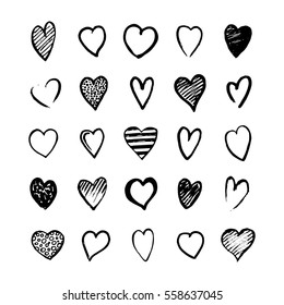 Heart icons hand drawn set in doodle style. Sketchy design elements for Valentine's day or wedding. Black love symbols isolated on white. Vector eps8 illustration.