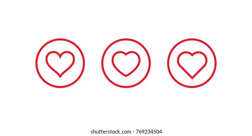 Hearts Inside Circle Love Symbol Red Stock Vector Royalty Free
