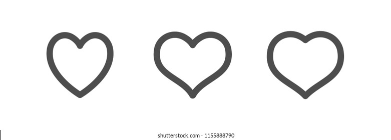 Heart icons, love symbol vector collection