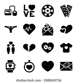 Heart icons. set of 16 editable filled heart icons such as broken heart, blod pressure tool, stopwatch, bandage, women couple, love word, love letter