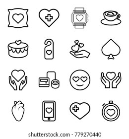 Heart icons. set of 16 editable outline heart icons such as spades, emot in love, blod pressure tool