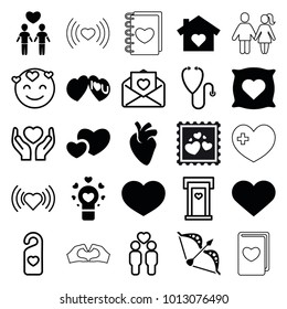 Heart icons. set of 25 editable filled and outline heart icons such as i love you, emot in love, gay couple, love letter, bow, stethoscope