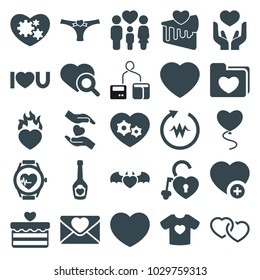 Heart icons. set of 25 editable filled heart icons such as heart search, heartbeat, family, add favorite, love letter, i love you, blod pressure tool