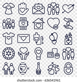 Heart icons set. set of 25 heart outline icons such as blod pressure tool, drop counter, heart on hand, family, minus favorite, love letter, couple