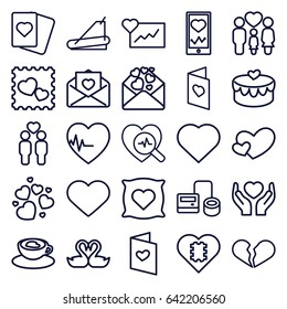 Heart icons set. set of 25 heart outline icons such as pillow with heart on it, hearts, spades, blod pressure tool, treadmill, heartbeat on phone, hands holding heart, family