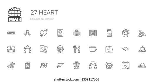 heart icons set. Collection of heart with medicine, gym, cupid, exercise, love letter, valentines day, potty, father, wedding car, poker, wedding arch. Editable and scalable heart icons.
