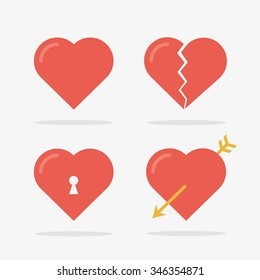 Heart Icons Set in Vector