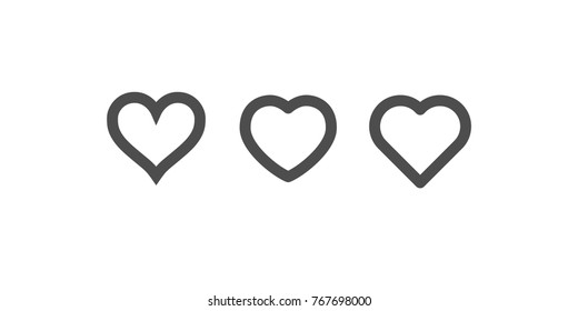 Heart icons, symbol of love, linear bold vector