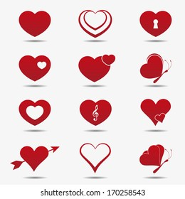 Heart icons, vector.