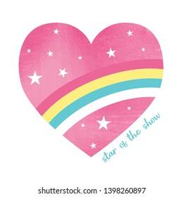 Heart illustration for girl print design vector.