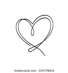 Heart illustration. White background. Black outline. The line in the form of heart. Template for Valentine's Day banners, posters, greeting cards. Minimalism.