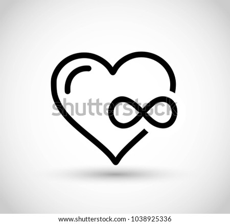 Heart Infinity Sign Vector Stock Vector Royalty Free 1038925336