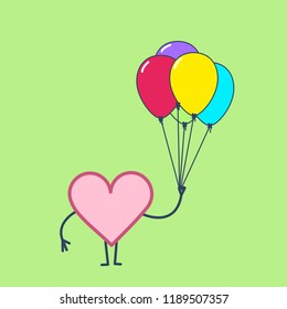 Heart with inflatable balloons, Vector concept happy heart celebration of love | flat design linear infographic icon on green background