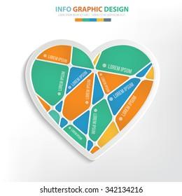 Heart info graphic design. Clean vector
