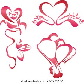 Heart inscribed in the form of roses, a pair of swans, a pair of doves.