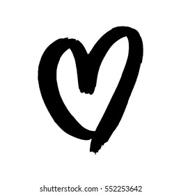 Heart Paint Brush Black Ink Valentines Stock Vector Royalty Free