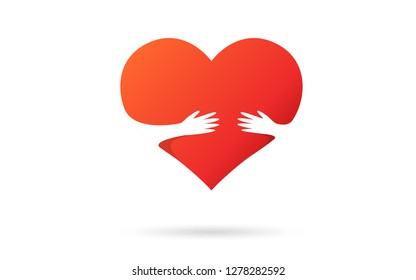 Heart isolated on a white background. Red color. Love symbol. Charity and donation. Hands reaching to each other. Hold love. Valentine's day. Icon or logo. Cute design. Flat style vector illustration.