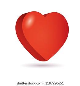 Heart isometric 3D icon vector illustration