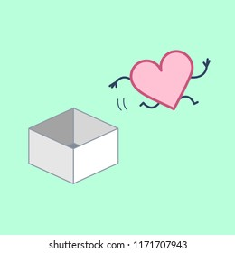 Heart jumping out of the box. Vector concept illustration of unconventional thinking and feeling out of the box | flat design linear infographic icon on green background