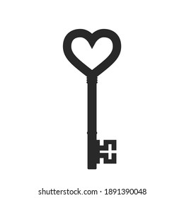 heart key icon. valentines day design element. love symbol. isolated vector image