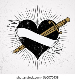 heart and knife symbol of love with ribbon and sunburst grunge isolated background