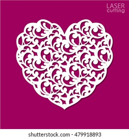 Heart with lace ornaments for laser cutting. Template for interior design, layouts wedding cards, invitations, etc. Image suitable for laser cutting, plotter cutting or printing.