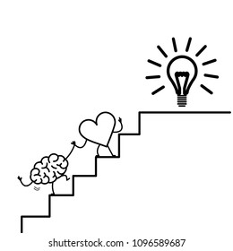 heart leading brain to success. Vector concept illustration of heart cooperation and teamwork with brain on stairs to goal new idea bulb | flat design linear infographic icon black on white background