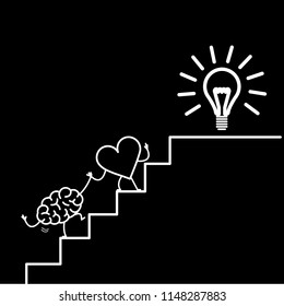 heart leading brain to success. Vector concept illustration of heart cooperation and teamwork with brain on stairs to goal new idea bulb | flat design linear infographic icon white on black background