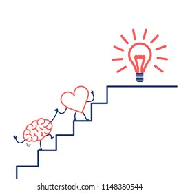 heart leading brain to success. Vector concept illustration of heart cooperation and teamwork with brain on stairs to goal new idea bulb | flat design linear infographic icon red and blue on white