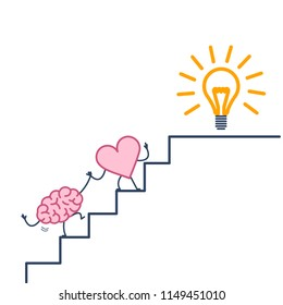 heart leading brain to success. Vector concept illustration of heart cooperation and teamwork with brain on stairs to goal new idea bulb | flat design linear infographic icon colorful on white backgro