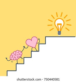 heart leading brain to success. Vector concept illustration of heart cooperation and teamwork with brain on stairs to goal new idea bulb | flat design linear infographic icon on yellow background