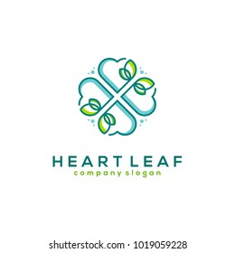 heart leaf logo, flower line line art vector illustration