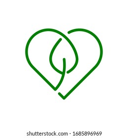 Heart and leaf sign. Love nature symbol. Organic icon. Biodegradable sign. Single line logo template. Think green. Sustainable lifestyle. Environmental protection. Love Earth. Vector illustration.