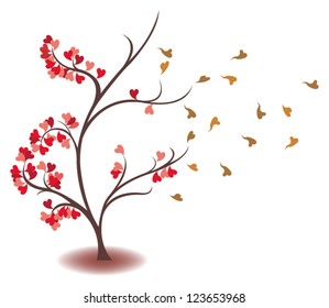 Heart leaves is fading away from the silhouette tree of love and time concept in isolated background, create by vector