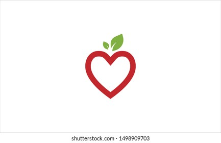 Heart with leaves flat minimal logo