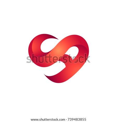 Heart Letter S Letter Initial Logo Stock Vector Royalty Free