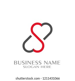 Heart letter S logo.  double heart shape letter S graphic flat design.