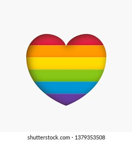 Heart lgbt sign rainbow color stripe. Pride flag Paper cut heart shape Concept love symbol. Valentine day. Vector illustration isolated on white background