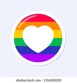 Heart or Like Icon. LGBTQ+ related symbol in rainbow colors. Gay Pride. Raibow Community Pride Month. Love, Freedom, Support, Peace Symbol. Flat Vector Design Isolated on White Background