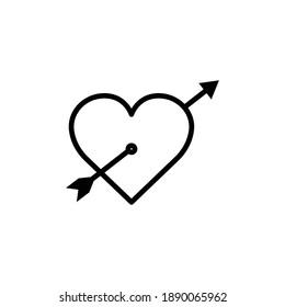 Heart line icon with arrow. symbol of love. simple design editable. Design template vector
