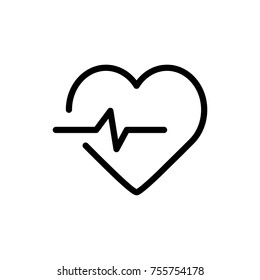 Heart line icon. High quality black outline logo for web site design and mobile apps. Vector illustration on a white background.