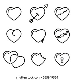heart line icons vector symbols