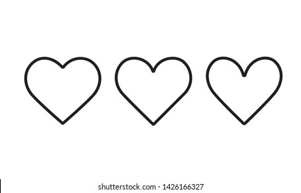 Heart line isolated on white background.Icons, concept of love.Set of outline icon.Hand drawn doodle grunge vector.Rough marker hearts.