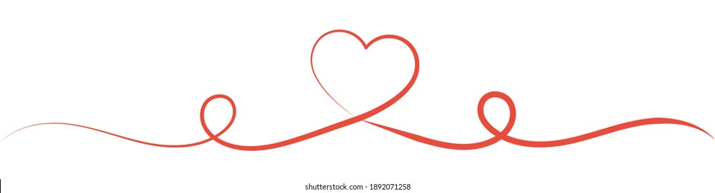 Heart line vector illustration. Continuous one line drawing heart. Abstract love symbol. Red ribbon background. Christmas card design template.
