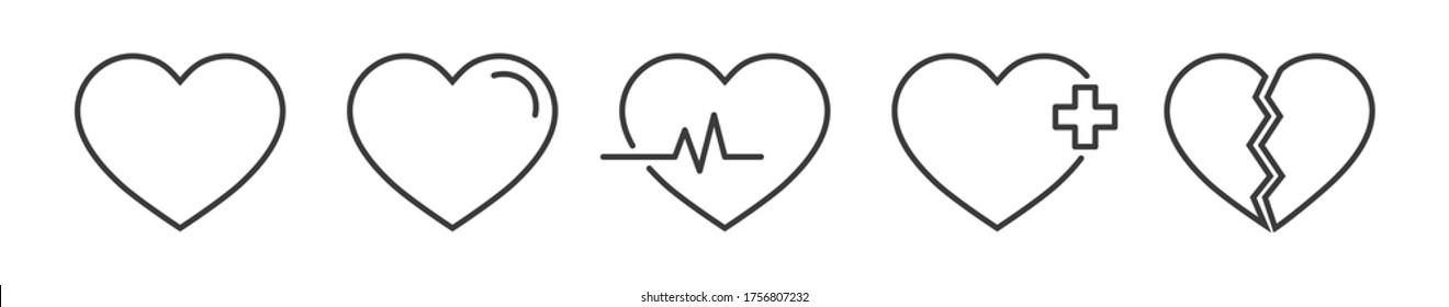Heart linear icon for medical healthcare design. Outline cardio symbol. Love logo set. Electrocardiogram sign. Lover arrow for valentine day. Cardiac heartbeat for chart. vector illustraion