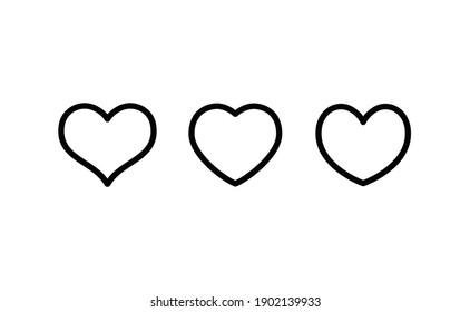 Lineares Herzsymbol. Valentinstag-Symbol. Hört Vektorgrafik-Kollektion.