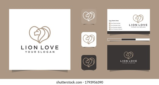 heart and lion logo outline style with business card