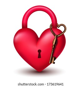 heart lock with key